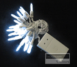 Cool White on White Cord LED lights mini M5 battery operated